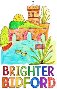 Colourful logo drawing of Bidford Bridge