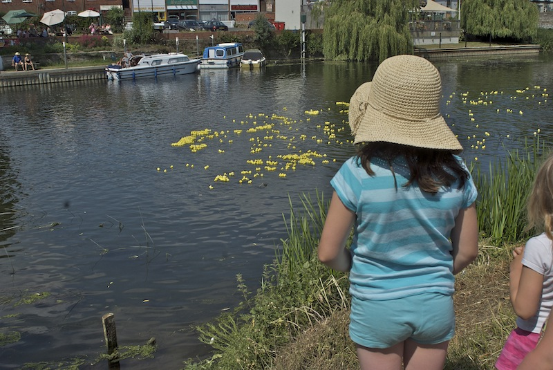Children watching the ducks float by