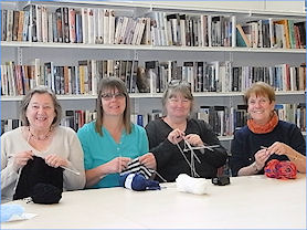 Ladies Knitting in the Library