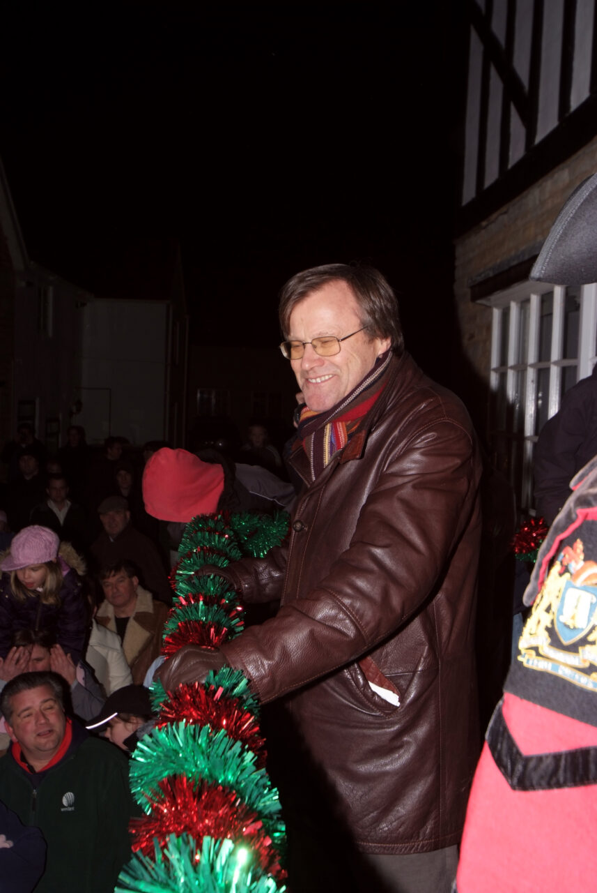 Actor David Neilson (Roy from Coronation Street) turning on the Christmas lights