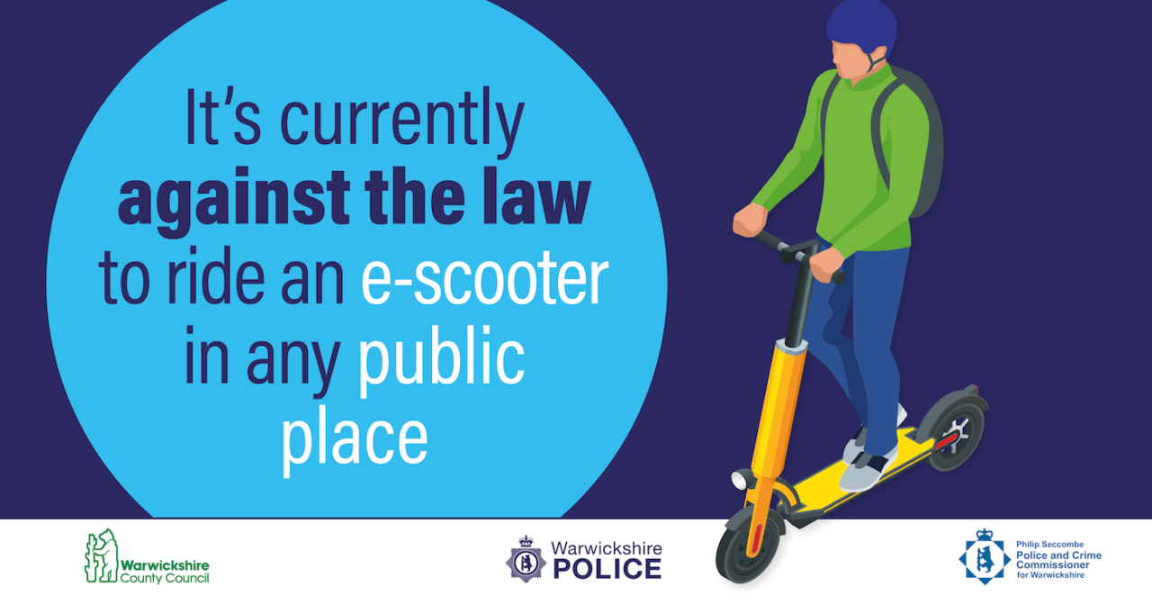 Warwickshire Police e-Scooter message