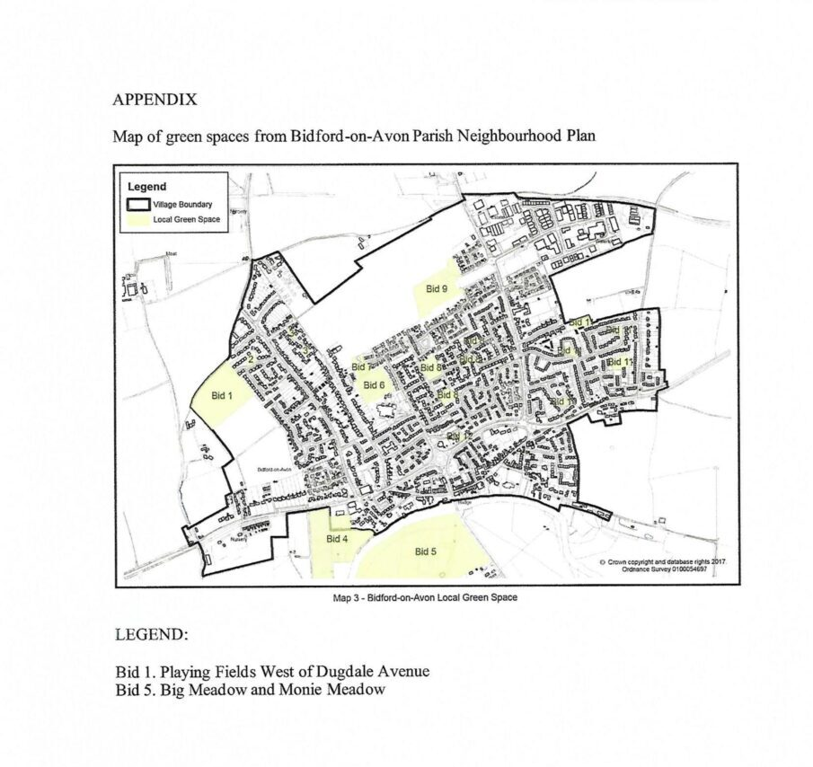 Map of green spaces in Bidford
