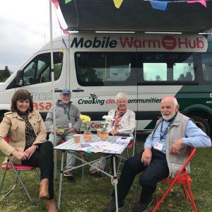 The Mobile Warm Hub minibus and volunteers
